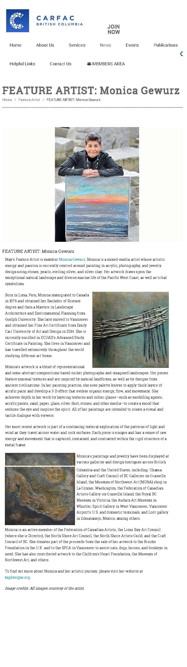 Artist of the Month CARFAC Magazine